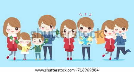 cute cartoon family with travel
