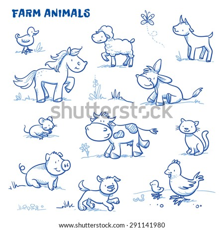 Cute cartoon farm animals. duck, horse, sheep, goat, donkey, cow, mouse, pig, dog, cat, chick. Hand drawn doodle vector illustration.