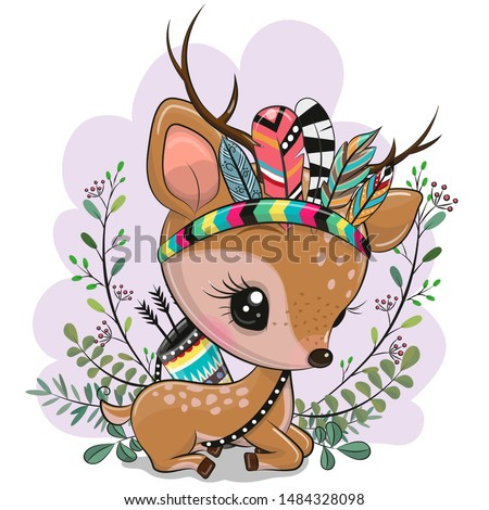 Cute Cartoon Fawn with feathers on a purple background