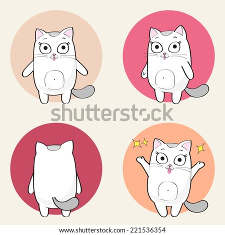 cute cartoon female cat in various poses stock vector
