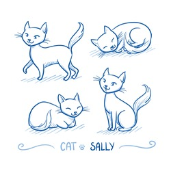 Cute cartoon female cat with happy expression, walking, sitting, sleeping. Hand drawn doodle vector illustration.