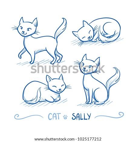cute cartoon female cat with