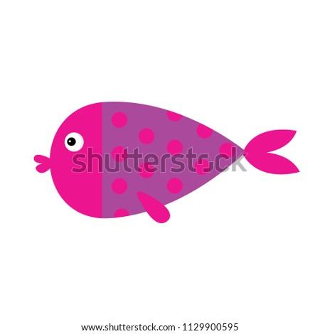 cute cartoon fish icon set