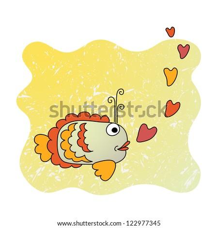 Cute cartoon fish in love