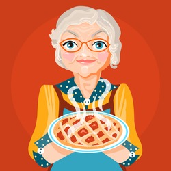 Cute, cartoon, flat character grandmother , grandma,  in a orange dress and glasses with cooked, fresh baked pie