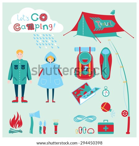 Cute cartoon flat icons set with young man and woman in raincoat with the equipment for hiking, fishing, camping, outdoor and recreation activity. Modern vector symbols. Travel and tourism background.