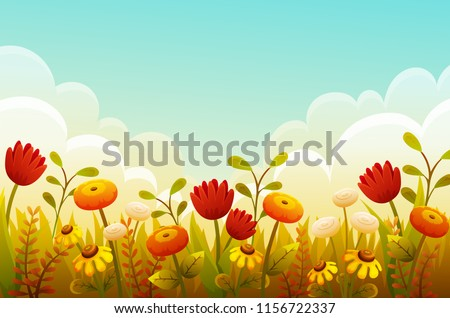Cute Cartoon Flowers In Grass Border Red Tulips Orange And Yellow Autumn