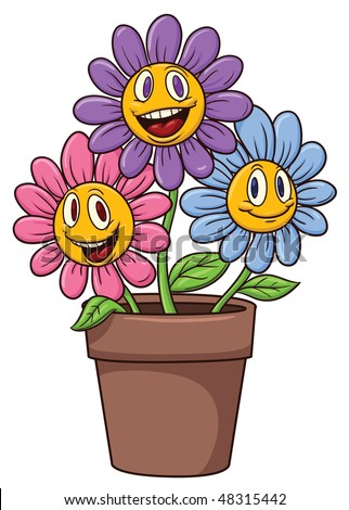 Cute Cartoon Flowers On A Flower Pot. Stock Vector ...