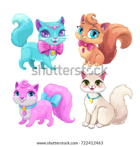 Cute cartoon fluffy cats set. Vector kitty icons on white background.