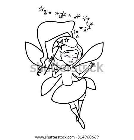 Cute Cartoon Flying Fairy With Magic Wand Outlines In Black And