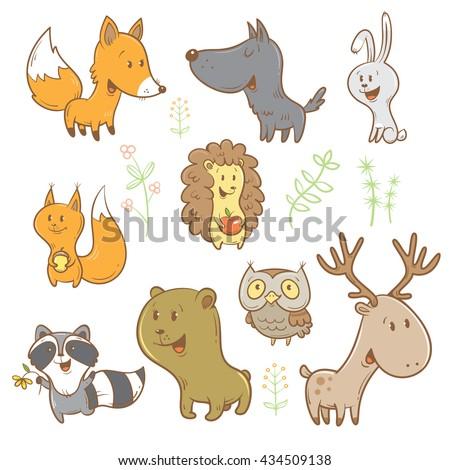 cute cartoon forest animals set