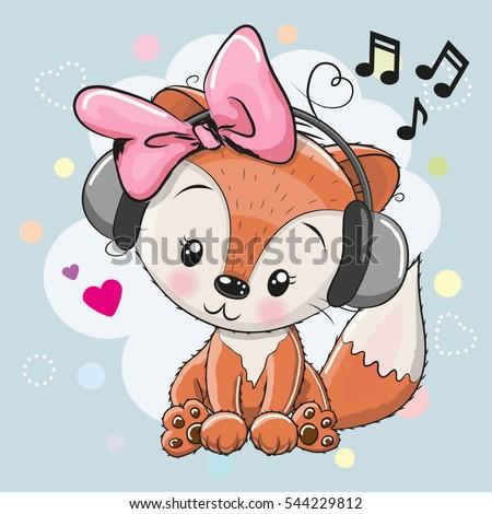 cute cartoon fox girl with
