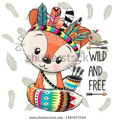 Cute Cartoon Fox with feathers and bird on a feathers background