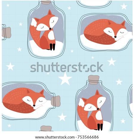 cute cartoon fox wolf in bottle
