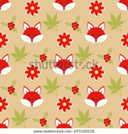 Cute cartoon foxes in the forest, seamless vector illustration