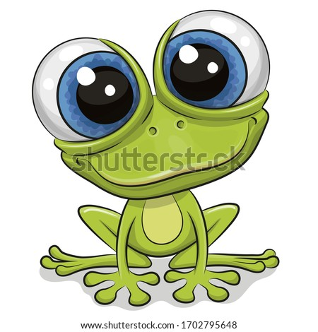 cute cartoon frog isolated on a