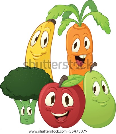 stock vector : Cute cartoon fruits and vegetables.