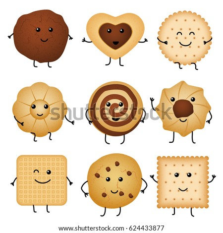 Shutterstock Cute cartoon funny cookies, bakery characters vector collection