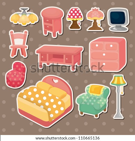 cute cartoon furniture stickers