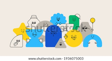 Cute cartoon geometric figures with different face emotions, funny poster idea for kids. Colorful characters, trendy vector illustrations, basic various figures for children education. Stockfoto ©