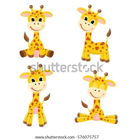 Cute cartoon giraffes  set.