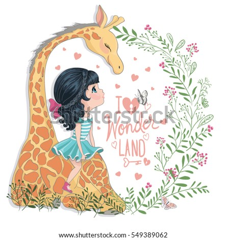 cute cartoon girl and giraffe