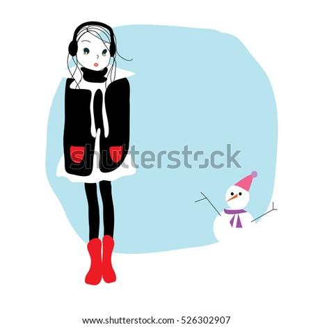 cute cartoon girl and snowman...