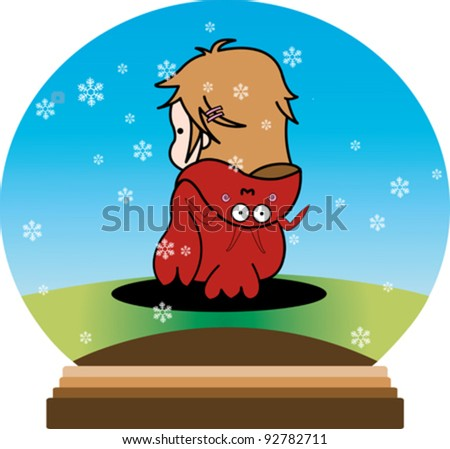 Cute cartoon girl dressed as an animal in a snow globe