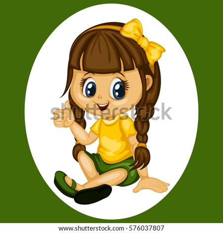 Cute Cartoon Girl Illustration Sitting on the Floor and Showing a Thumb Up