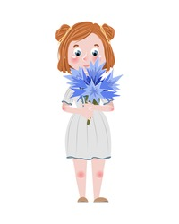 Cute cartoon girl in a simple dress holds in her hands a large branch of flowering blue cornflower. Wildflowers. Children's vector illustration