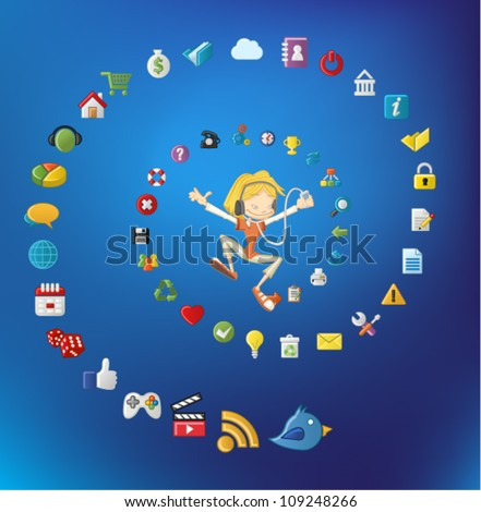 Cute cartoon girl jumping and listening music on mp3 player with Internet and Website icons set