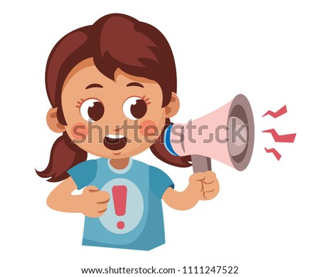 cute cartoon girl shouting into a megaphone. attention to the issue. Dissemination of information. Vector illustration isolated on white background.
