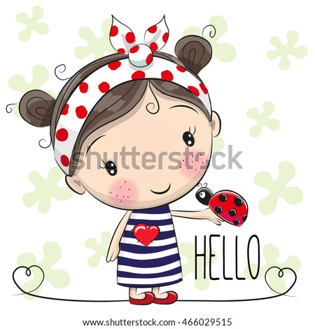cute cartoon girl with a bow