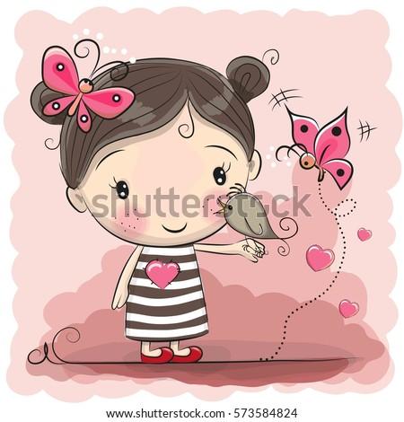 cute cartoon girl with bird and