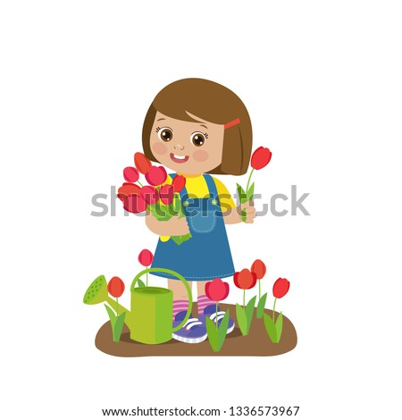 cute cartoon girl with flower