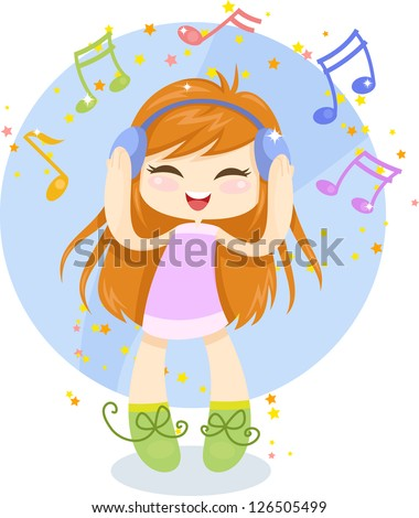 Cute cartoon girl with headphones is listening to music. Vector illustration