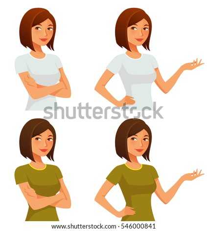 cute cartoon girl with her arms crossed or gesturing