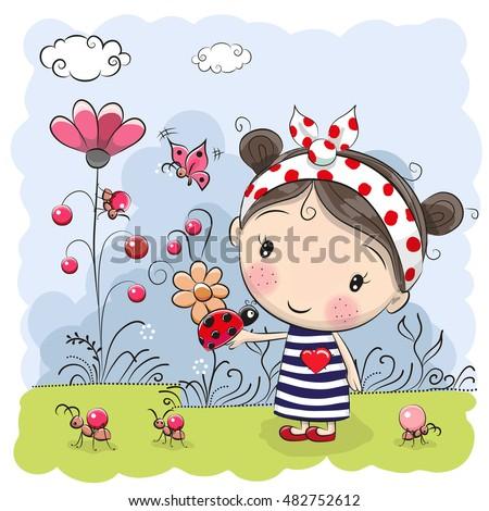 cute cartoon girl with ladybug