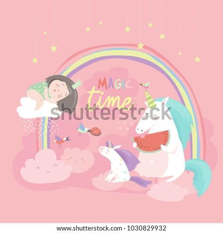 Stock Photo Cute cartoon girl with unicorns