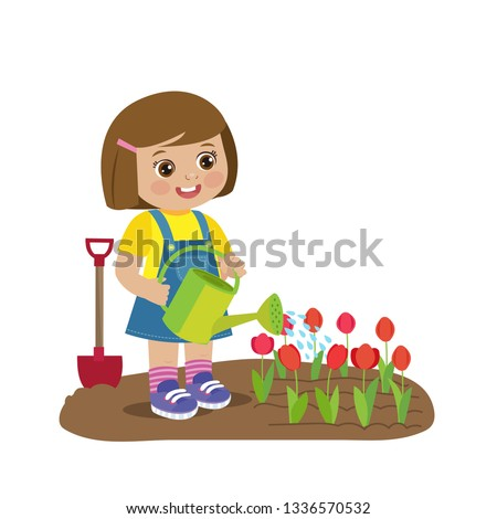 cute cartoon girl with watering