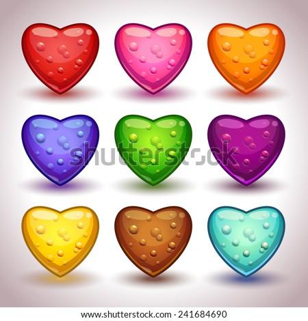 cute cartoon glossy hearts with