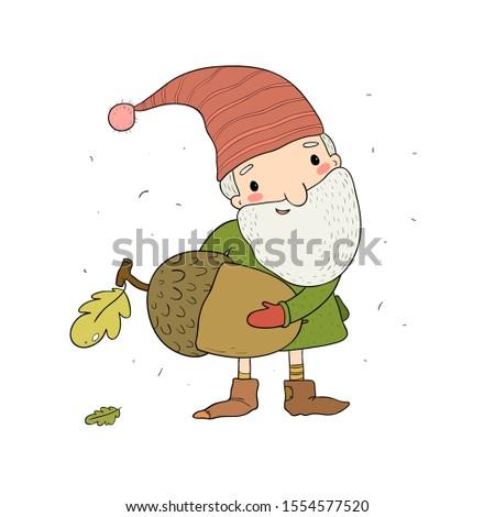 cute cartoon gnome old elf