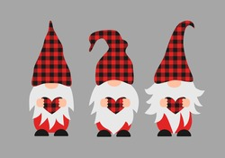 Cute cartoon gnomes holding heart. Red buffalo plaid pattern. Scandinavian Nordic Character. Vector template for Valentines Day banner, poster, greeting card, t-shirt, etc.