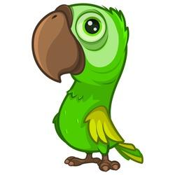 Cute cartoon green parrot with a large beak