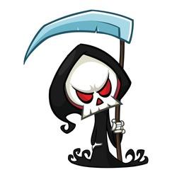 Cute cartoon grim reaper with scythe. Halloween skeleton character illustration