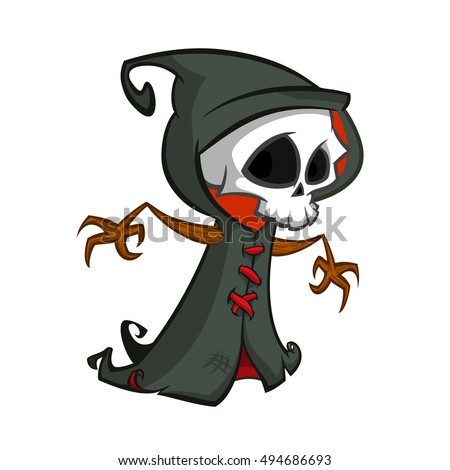 cute cartoon grim reaper with