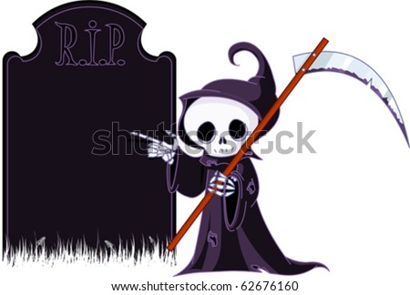 Cute cartoon grim reaper with scythe  pointing to tombstone. Isolated on white