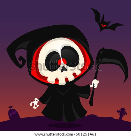 Shutterstock Cute cartoon grim reaper with scythe poster for Halloween party