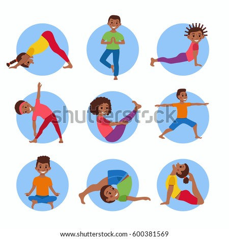 Cute cartoon gymnastics for children and healthy lifestyle sport illustration. Vector concept happy African kids exercise poses and yoga asana set for fitness design