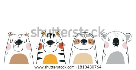 Cute cartoon hand drawn sloth, tiger, bear, koala for the design of a children's  carpet in the bedroom in scandinavian style